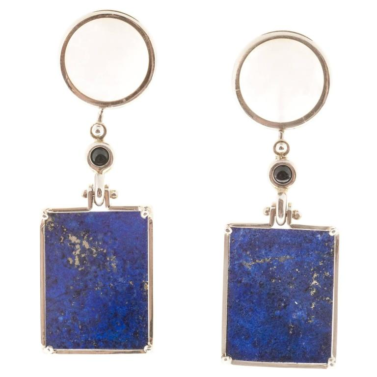 Peter Suchy Lace Agate Black Onyx Lapis Gold Dangle Earrings