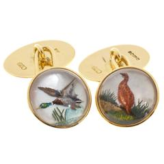 B + S  Carved Crystal Duck Pheasant Gold Cufflinks