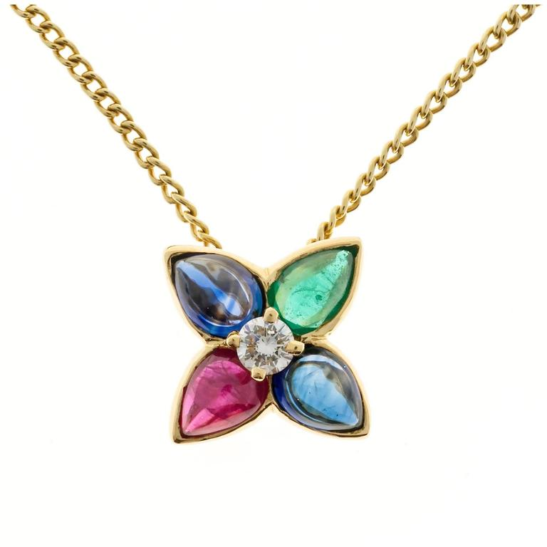 Cabochon Sapphire Emerald Ruby Diamond Gold Pendant Necklace