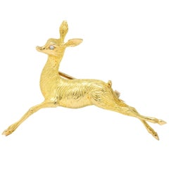 Cartier Retro French Diamond 18 Karat Gold Doe Deer Brooch