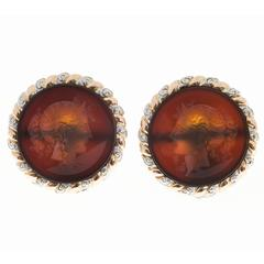 Carved Translucent Carnelian Intaglio Rose Gold Platinum Earrings
