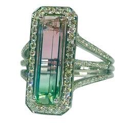 Philip Zahm 18 Karat 3.64 Carat Bi-Color Tourmaline Diamond Dinner Ring