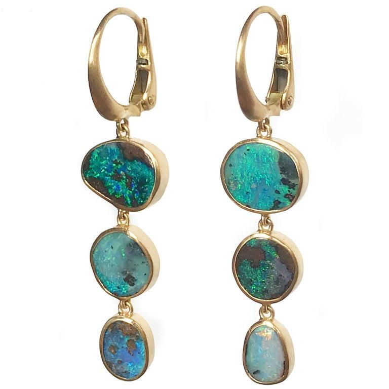 Dalben Australian Boulder Opal Yellow Gold Dangle Earrings