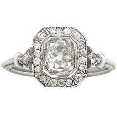 Antique and Contemporary 1.46 Carat Diamond and Platinum Ring