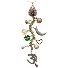 Clarissa Bronfman Diamond Emerald, Bone 'High Class Affair' Symbol Tree Necklace