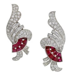 Art Deco Diamond and Ruby Earrings