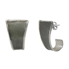 Yianni Creations Fine Silver and Oxidized Rhodium Handmade Geometric Earrings
