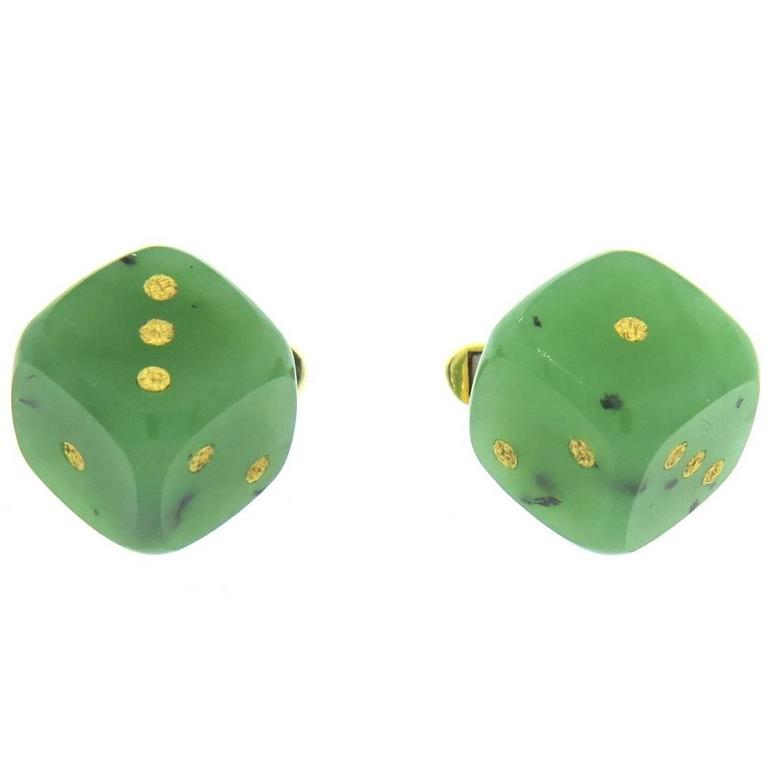Gold Jade Dice Cufflinks