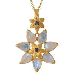 Emma Chapman Moonstone Iolite Gold Plate Pendant