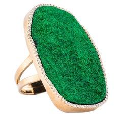 Karolin Green Uvarovite Diamond Pave Cocktail Ring with 18 Karat Rose Gold