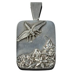 Antique Art Nouveau Silver Dragonfly Locket, circa 1900