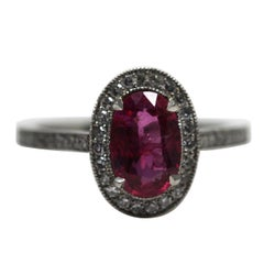 1.71 Carat Ruby and Diamond Cluster Platinum Ring