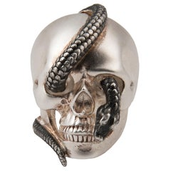 Theo Fennell Silver and Black Enamel Skull Ring