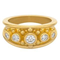 Denise Betesh Diamond Gold Granulation Cigar Band Ring