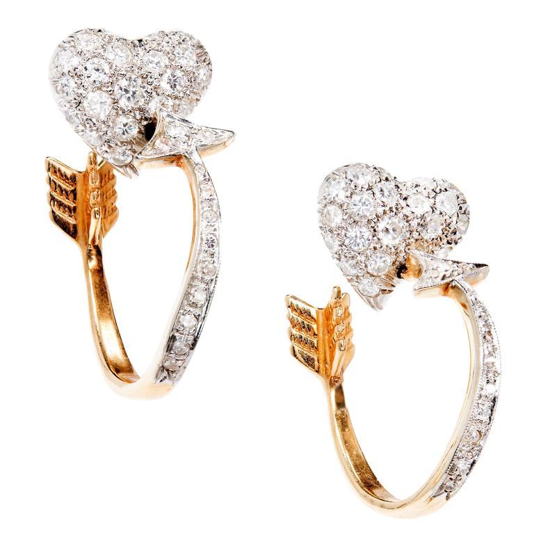 Diamond Heart Gold Cupid's Arrow Hoop Earrings