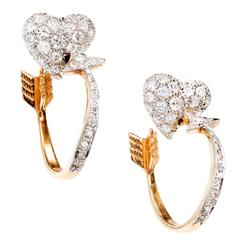 1.50 Carat Diamond Heart Gold Cupid's Arrow Hoop Earrings