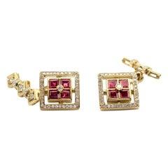 Ruby and Diamond 18 Karat Yellow Gold Cufflinks