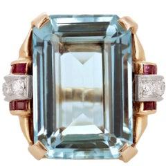 Retro 1940s Aquamarine Ruby and Diamond Cocktail Ring, 14 Karat Yellow Gold