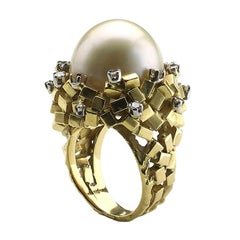 Pearl and Diamond Bombe Ring
