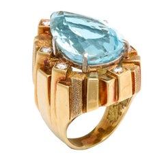 Henry Dunay 18 Karat Diamond and Aquamarine Retro Ring