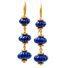 Scrives Lapis Lazuli Watermelon 22 Karat Gold Earrings
