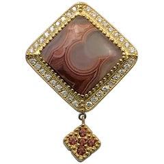 Lacuna Agate Pendant in 14 Karat Gold and Diamonds