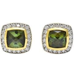 David Yurman 4.80 Carat Diamond Tourmaline 18 Karat Two-Tone Gold Stud Earrings
