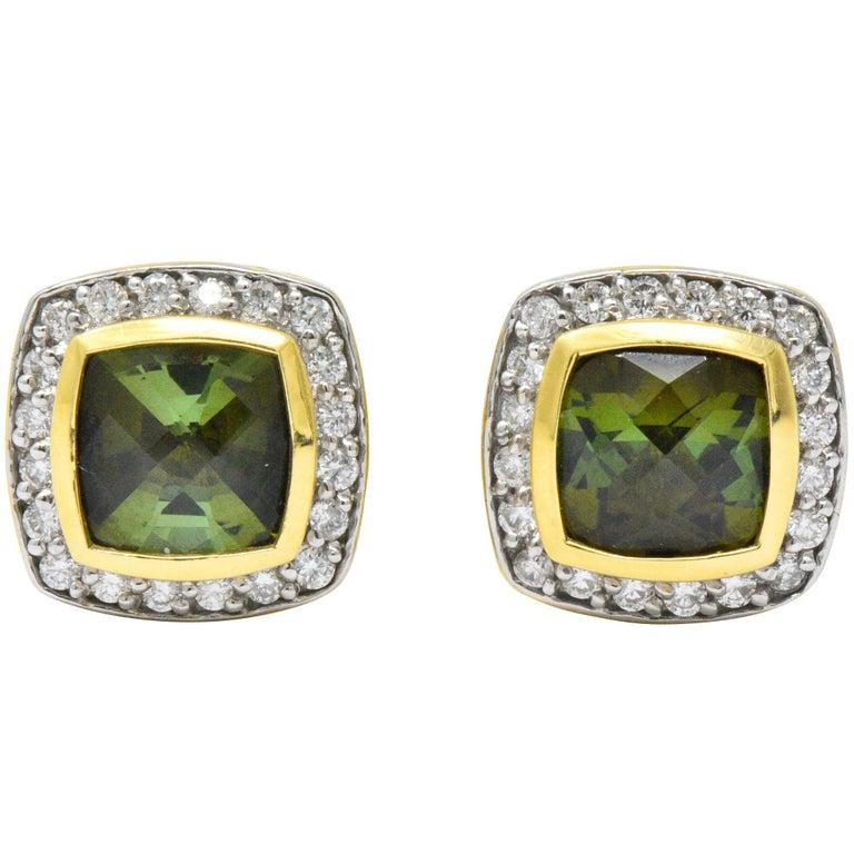 David Yurman 4.80 Carat Diamond Tourmaline 18 Karat Two-Tone Gold Stud Earrings For Sale