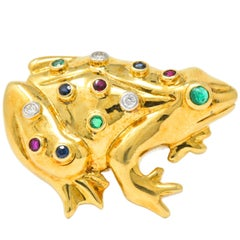 Vintage 1.25 Carat Diamond Emerald Ruby Sapphire 18 Karat Gold Frog Brooch