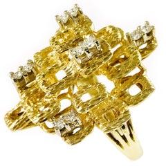 Retro Multi-Tier Diamond Cocktail Ring, 1980s