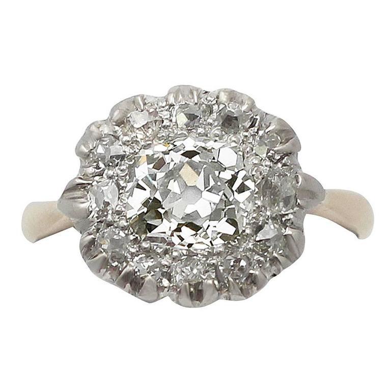 Victorian 1.63 Carat Diamond Gold Platinum Cluster Ring For Sale