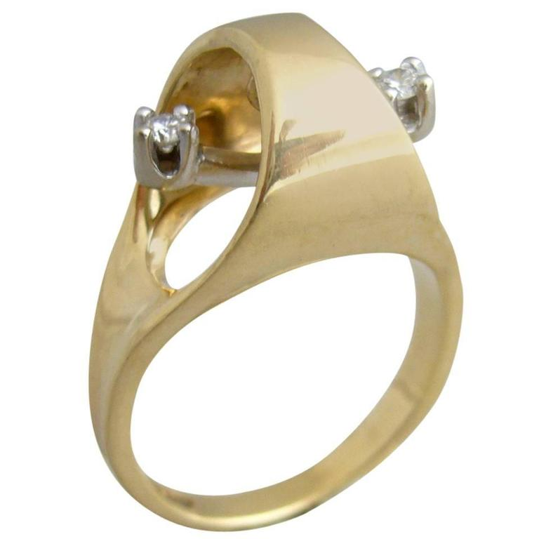 Gold Diamond Kinetic Modernist Ring For Sale