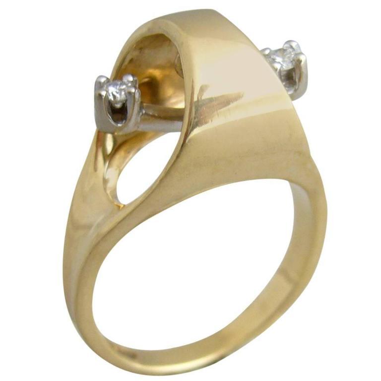 Gold Diamond Kinetic Modernist Ring