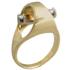 1970s Gold Diamond Kinetic Modernist Swinging Kinetic Ring