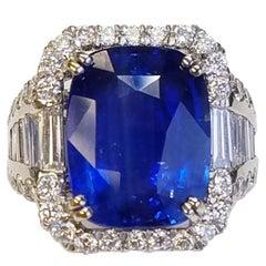 GIA Certified 18 Karat White Gold Cushion Cut Sapphire and Diamond Ring