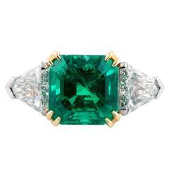 6.18 Carat Colombian Emerald Diamond Gold Platinum Ring