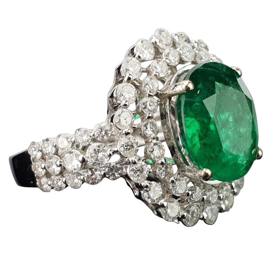 3.74 Carat Emerald and Diamond 18 Karat Gold Cocktail Ring