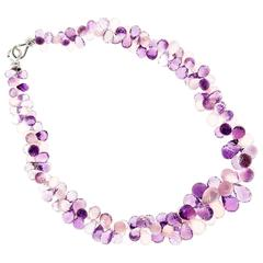 Amethyst Rose Quartz Briolette Gold Necklace