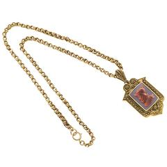 Carnelian Gold Hardstone Pendant Locket Necklace