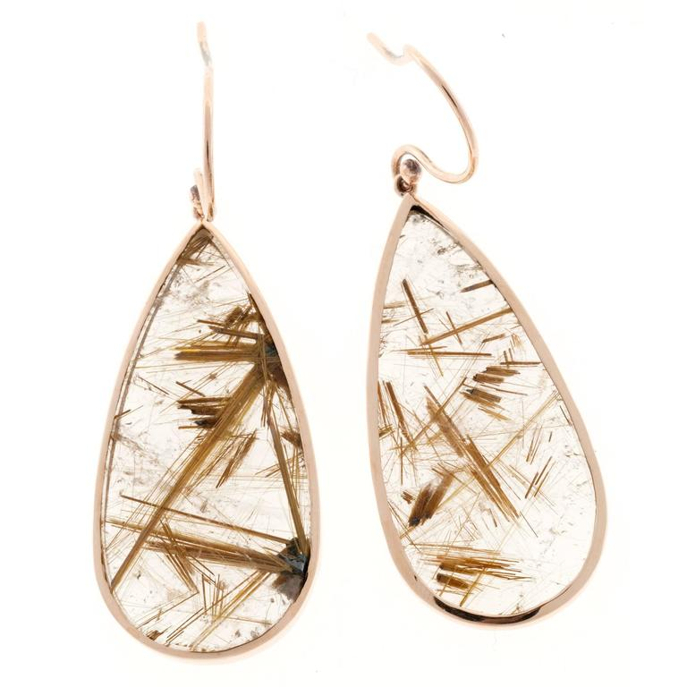 Peter Suchy Rutile Quartz Crystal Pink Gold Dangle Earrings