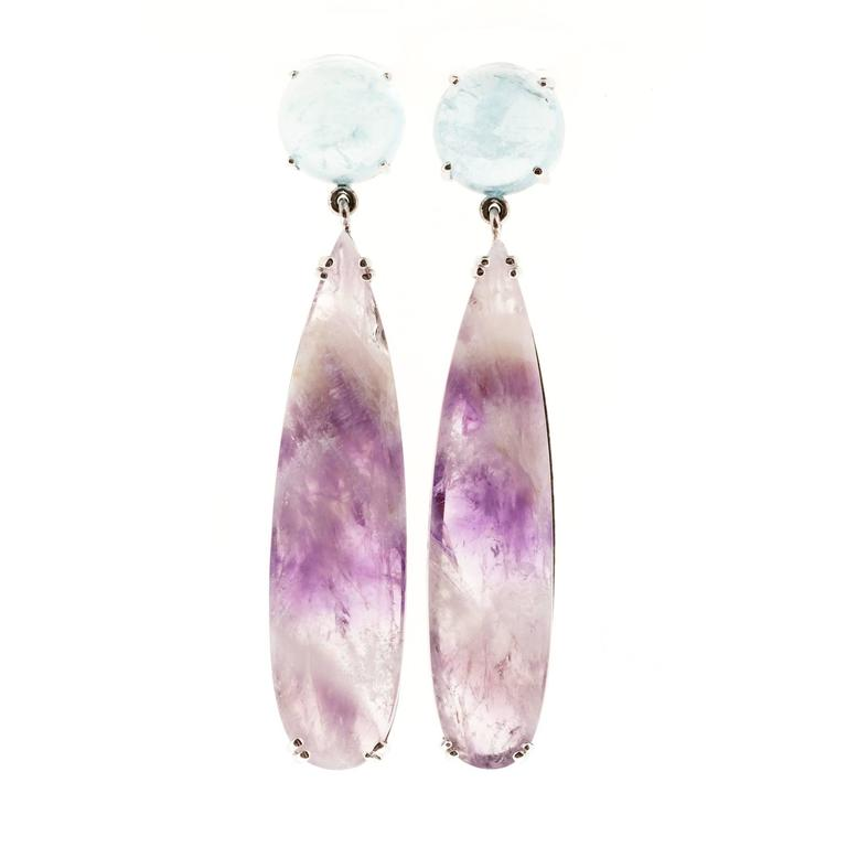 Peter Suchy Natural Aquamarine Amethyst Quartz Gold Dangle Earrings For Sale