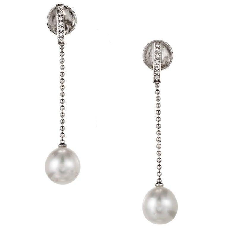 Gellner South Sea Pearl Diamond Gold Dangle Drop Earrings