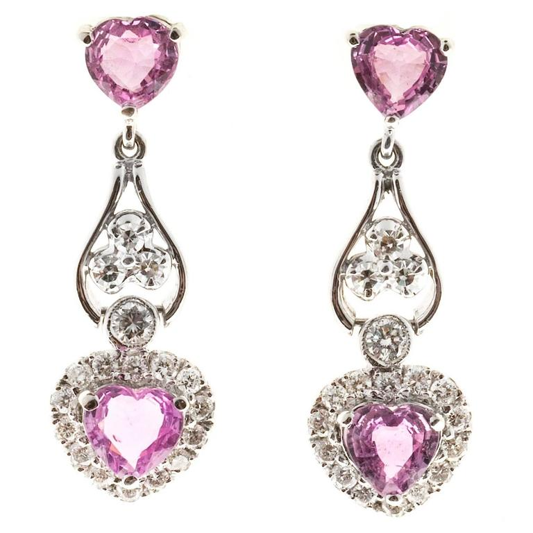 Pink Sapphire Diamond Heart Gold Dangle Earrings