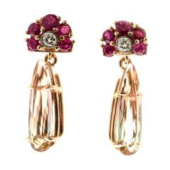 Ruby Diamond Two Color Tourmaline Gold Earrings