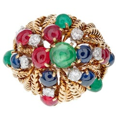 David Webb Tutti Frutti Yellow Gold Ring