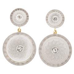 Carter Gough Mother of Pearl Diamond Platinum Dangle Earrings