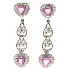 Pink Heart Sapphire Diamond Gold Dangle Drop Earrings
