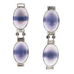 Blue Chalcedony Diamond Platinum Hinged Dangle Earrings
