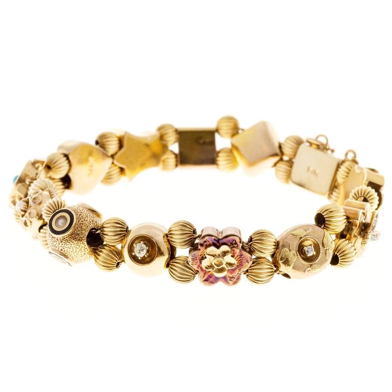 Sapphire Pearl Turquoise Diamond Gold Slide Bracelet For Sale