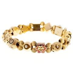 Sapphire Pearl Turquoise Diamond Gold Slide Bracelet